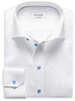 Eton Contemporary Fit Twill with Blue Details Dress Shirt