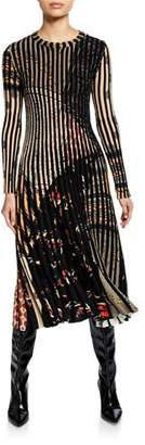 Etro Long-Sleeve Pleated Floral-Print Dress