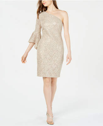 Calvin Klein Lace & Sequin One-Shoulder Dress