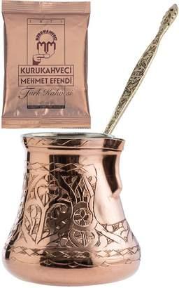 CopperBull 2016 Design XXL Heavy Duty Engraved Copper Turkish Greek Coffee Pot Stovetop Coffee Maker Cezve Ibrik Briki with Brass Handle by CopperBull