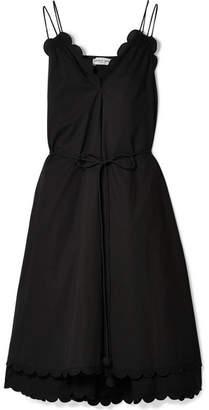 Apiece Apart Mirage Belted Scalloped Cotton-poplin Dress - Black