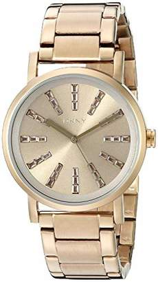 DKNY DNKY5) Women's Quartz Watch with Black Dial Analogue Display and Rose Gold Stainless Steel Bracelet NY2418
