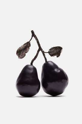 Penkridge Ceramics Pear Pair With Branch And Two Leaves - Black