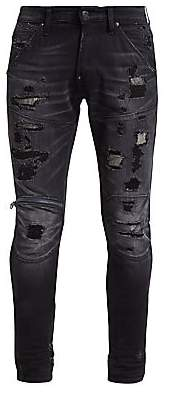 G Star Men's Distressed Zip Knee Jeans