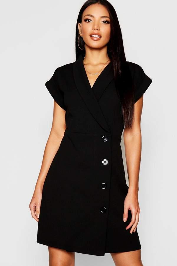 Wrap Button Detail Blazer Dress