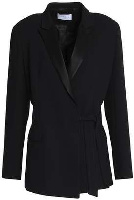 Sandro Flint Satin-Trimmed Crepe Wrap Jacket