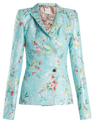 Halpern - Floral Jacquard Single Breasted Jacket - Womens - Blue Multi