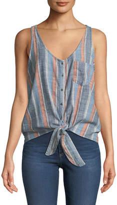 AG Jeans Cynthia Striped Button-Front Tank