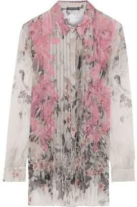 Alberta Ferretti Lace-appliqued Pleated Printed Silk-chiffon Shirt