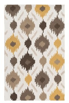 George Oliver Croghan Ikat Hand-Tufted Gold/Gray Area Rug George Oliver