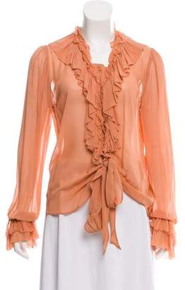 Love Sam Long Sleeve Ruffle-Accented Blouse