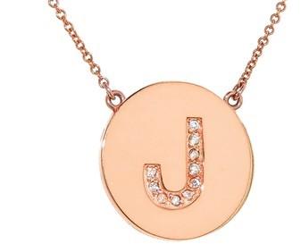 Jennifer Meyer Diamond Letter Necklace - J- Rose Gold
