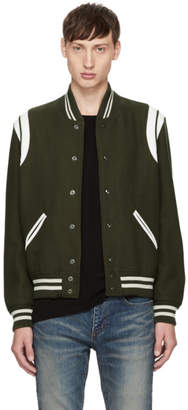 Saint Laurent Khaki and White Wool Teddy Bomber Jacket