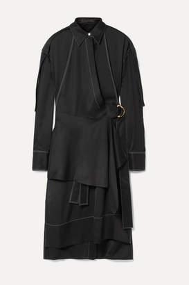 Proenza Schouler Draped Belted Gabardine Dress - Black