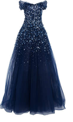 Pamella Roland Off-The-Shoulder Crystal Embellished Tulle Gown
