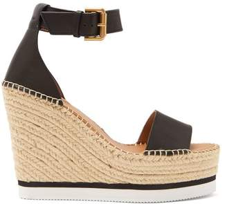 See by Chloe Leather Espadrille Wedge Sandals - Womens - Black