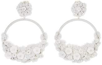 Oscar de la Renta Embellished Flower Hoop Earrings