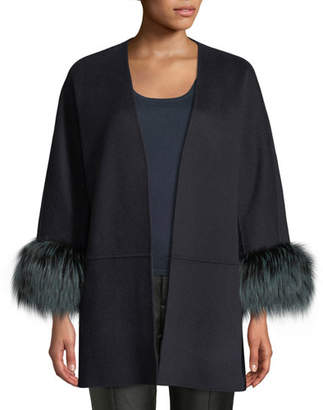 Neiman Marcus Luxury Double-Faced Cashmere Open-Front Swing Jacket with Fox Fur Cuffs
