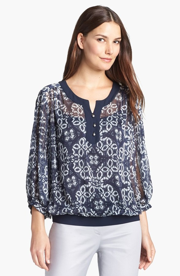 Adrianna Papell Crinkled Chiffon Blouse with Camisole