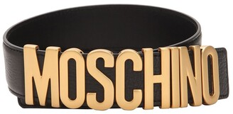 Moschino 35MM GOLD LOGO LEATHER BELT
