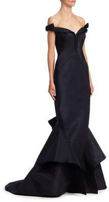Zac Posen Silk Off-The-Shoulder Gown