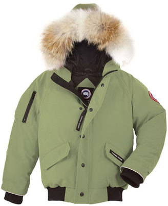 Canada Goose Rundle Hooded Down Bomber Jacket, Arctic Tundra, Size XS(6-7)-XL(12-14) $475 thestylecure.com