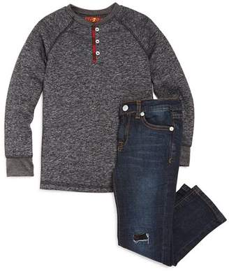 7 For All Mankind Boys' Henley Tee and Jean Set - Little Kid