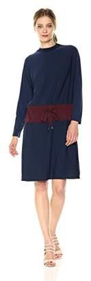 Kenneth Cole New York Kenneth Cole Women's Mixed Media Drawstring Waist Dress