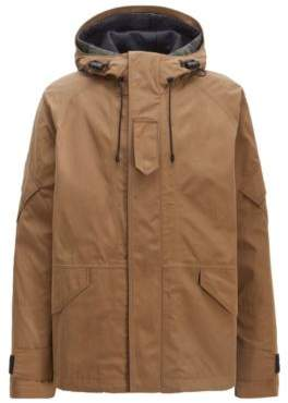 BOSS Hugo Two-in-one hooded parka in water-repellent waxed canvas 38R Open Beige