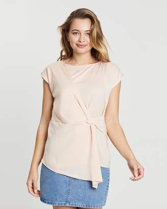 Oasis Satin Drape Front Top