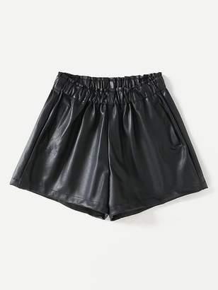 Shein Frill Waist PU Shorts