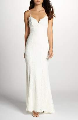 Fame & Partners Sirene Scalloped Lace Gown