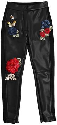 Embroidered Faux Leather Leggings