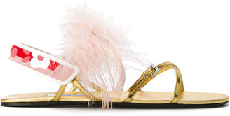 feather trim sandals