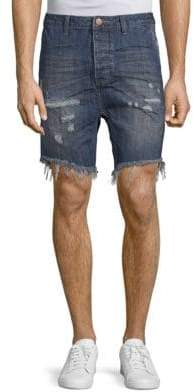 Relaxed-Fit Distressed Denim Shorts