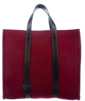 Fendi Leather-Trimmed Wool Tote w/ Tags Bordeaux Leather-Trimmed Wool Tote w/ Tags