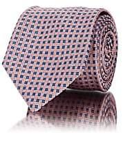 Barneys New York Men's Crosshatch-Pattern Silk Jacquard Necktie - Pink