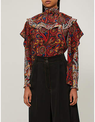 J.W.Anderson Paisley-print ruffled silk-crepe shirt