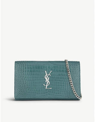 Saint Laurent Croc-embossed leather clutch bag