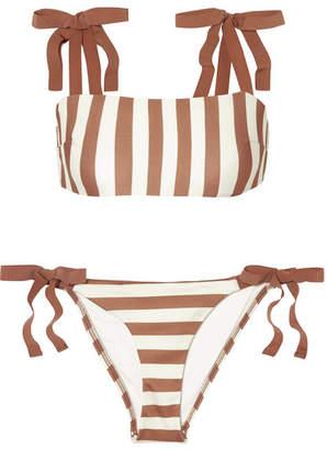 Zimmermann Helm Grosgrain-trimmed Striped Bikini - Tan