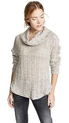 Three Dots Women's WK2810 Melange Heavy Sweater Long Sleeve Cowl