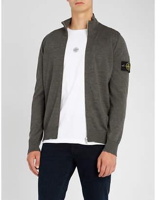 Stone Island Logo-patch zip-through wool cardigan