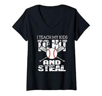 Womens I Teach My Kids To Hit and Steal V-Neck T-Shirt