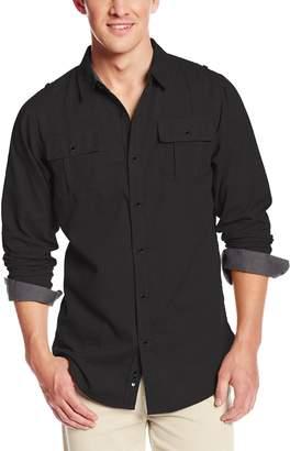 Burnside Men's Locked Solid Button Down Long Sleeve Woven Shirt