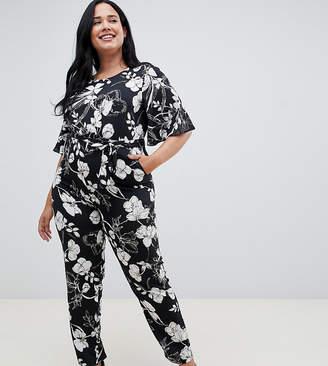 Yumi Plus plus short sleeve floral monochrome jumpsuit