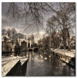 "Yvette Depaepe 'Bruges In Christmas Dress' Canvas Art - 18"" x 18"" x 2"""