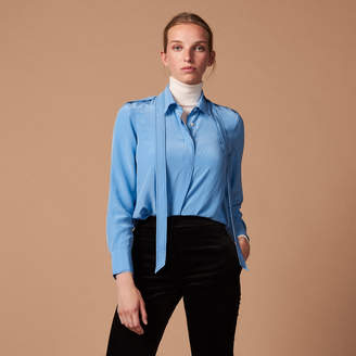 Sandro Silk shirt with pussy bow collar