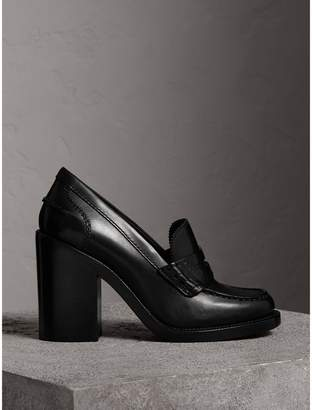Burberry Leather Block-heel Penny Loafers