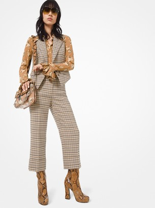 Michael Kors Plaid Stretch-Wool Cuffed Trousers