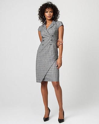 Le Château Check Print Double Breasted Sheath Dress